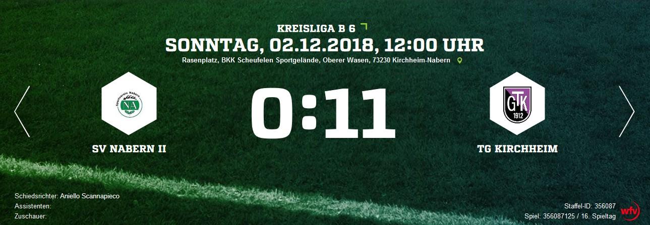 SV Nabern II - TG Kirchheim - erstes Rückrundenspiel zweistellig
